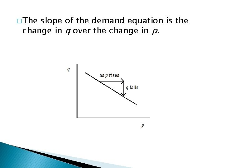 � The slope of the demand equation is the change in q over the