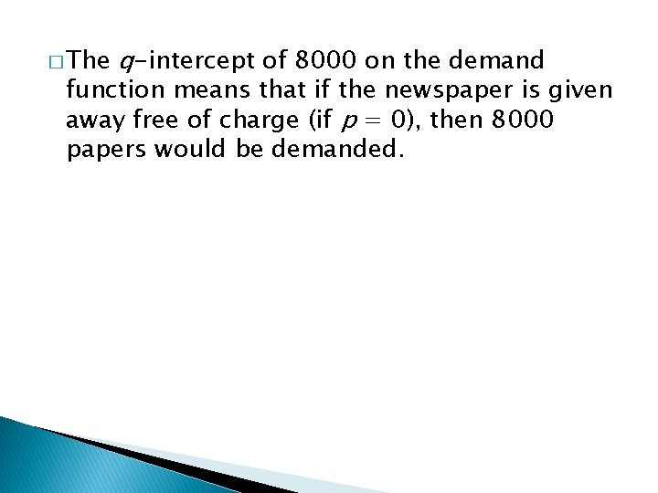 � The q-intercept of 8000 on the demand function means that if the newspaper