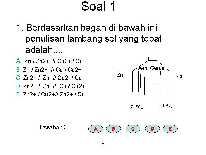 Soal 1 1. Berdasarkan bagan di bawah ini penulisan lambang sel yang tepat adalah.