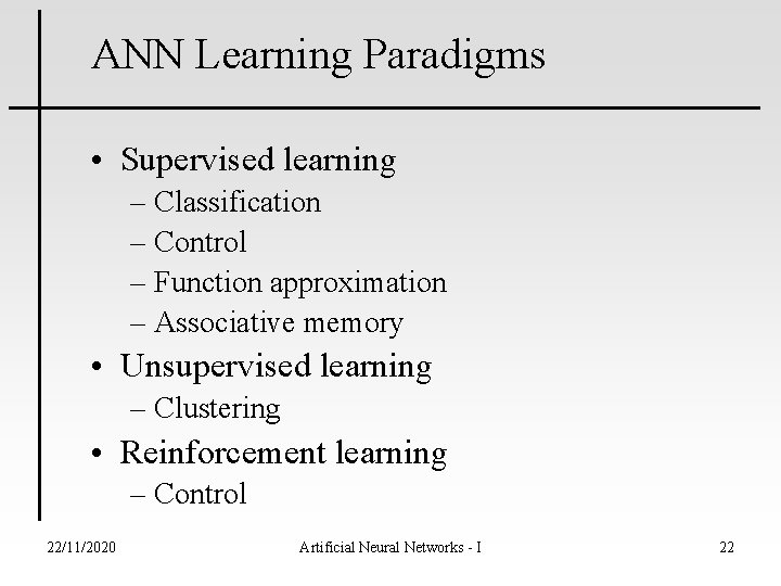 ANN Learning Paradigms • Supervised learning – Classification – Control – Function approximation –