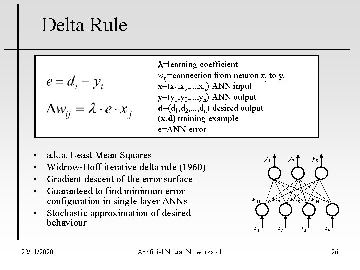 Delta Rule l=learning coefficient wij=connection from neuron xj to yi x=(x 1, x 2,