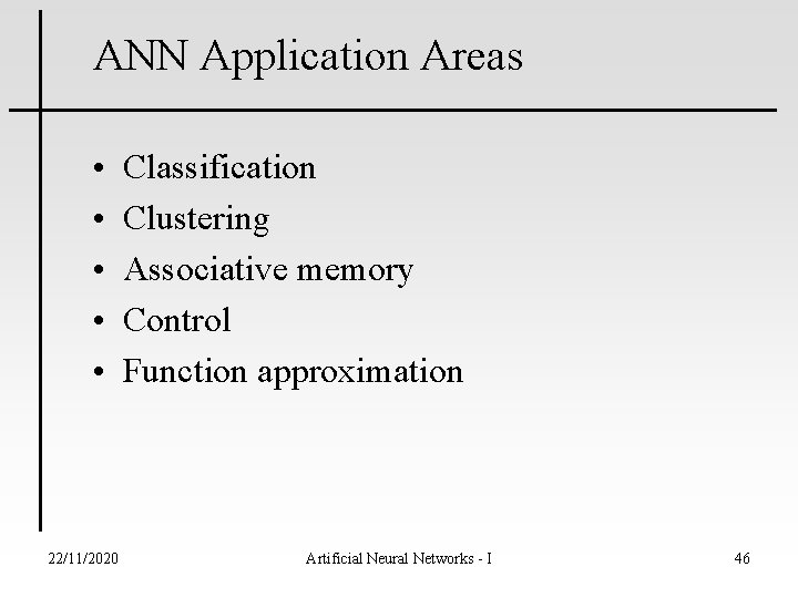 ANN Application Areas • • • 22/11/2020 Classification Clustering Associative memory Control Function approximation