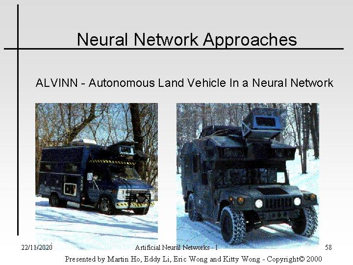Neural Network Approaches ALVINN - Autonomous Land Vehicle In a Neural Network 22/11/2020 Artificial