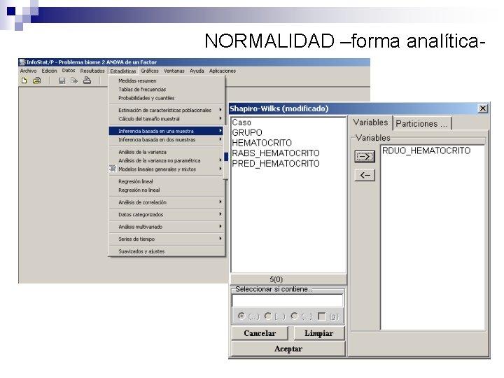 NORMALIDAD –forma analítica-