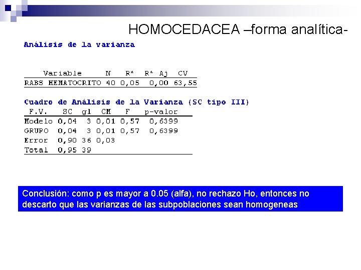 HOMOCEDACEA –forma analítica- Conclusión: como p es mayor a 0. 05 (alfa), no rechazo