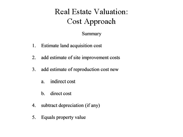 Real Estate Valuation: Cost Approach