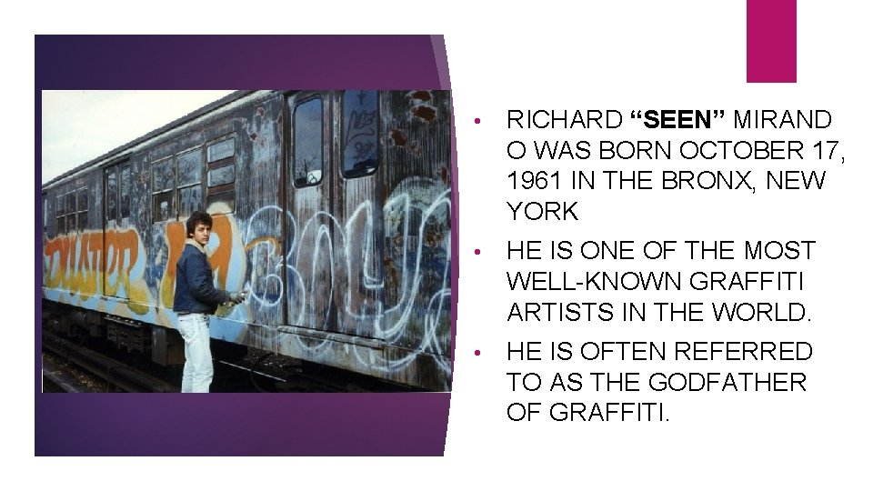 """• RICHARD """"SEEN"""" MIRAND O WAS BORN OCTOBER 17, 1961 IN THE BRONX,"""