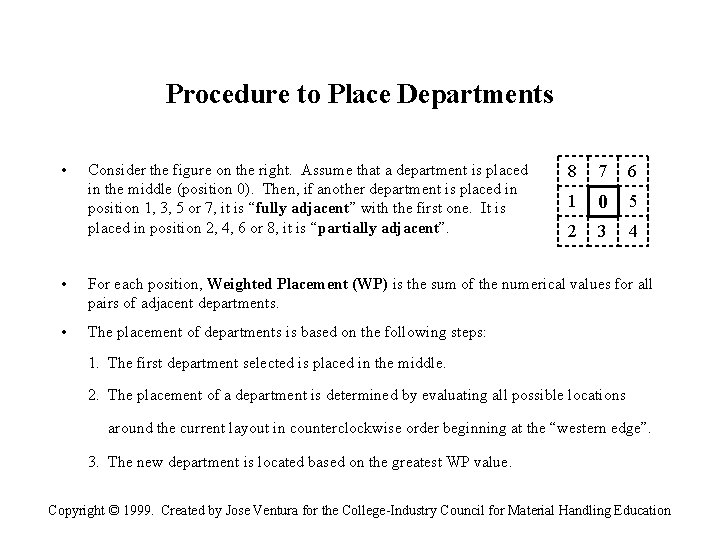 Procedure to Place Departments • Consider the figure on the right. Assume that a