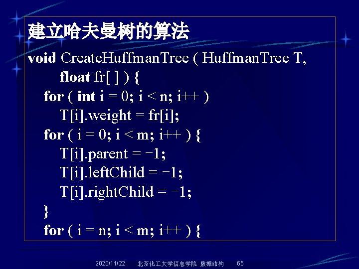 建立哈夫曼树的算法 void Create. Huffman. Tree ( Huffman. Tree T, float fr[ ] ) {