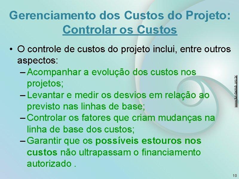 Gerenciamento dos Custos do Projeto: Controlar os Custos www. fundaplub. org. br • O
