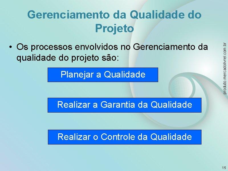 • Os processos envolvidos no Gerenciamento da qualidade do projeto são: Planejar a