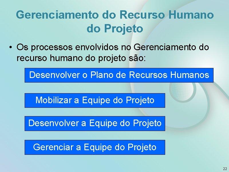Gerenciamento do Recurso Humano do Projeto • Os processos envolvidos no Gerenciamento do recurso