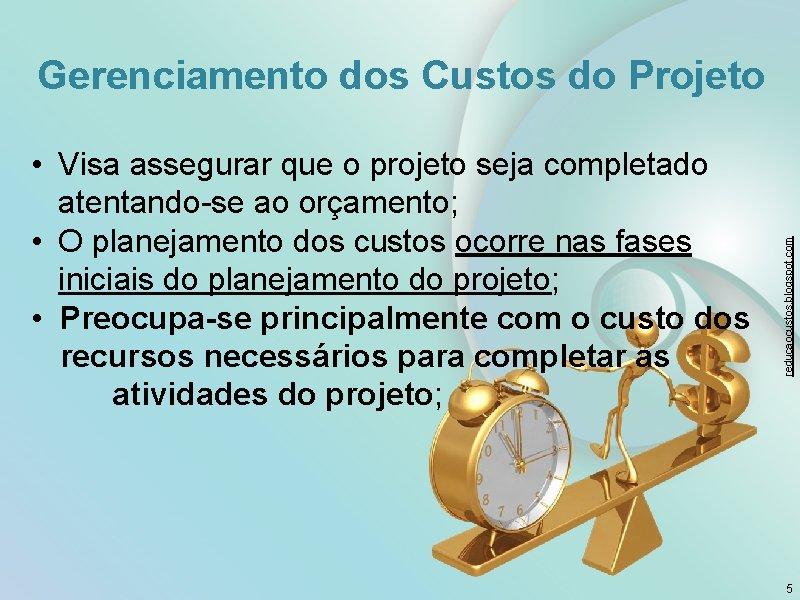 • Visa assegurar que o projeto seja completado atentando-se ao orçamento; • O