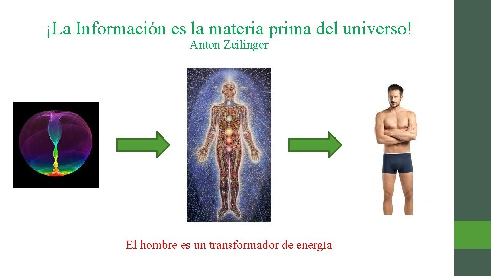 ¡La Información es la materia prima del universo! Anton Zeilinger El hombre es un