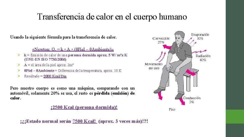 Transferencia de calor en el cuerpo humano Usando la siguiente fórmula para la transferencia