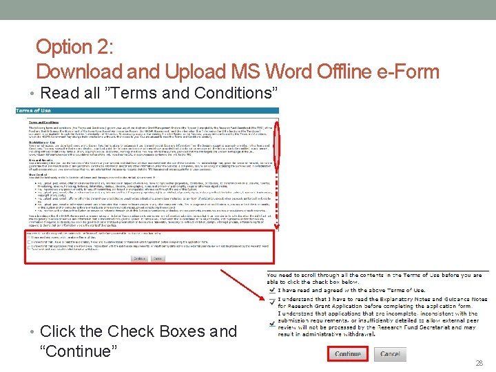 """Option 2: Download and Upload MS Word Offline e-Form • Read all """"Terms and"""