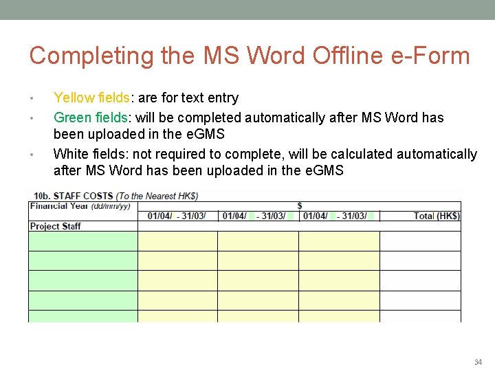 Completing the MS Word Offline e-Form • • • Yellow fields: are for text