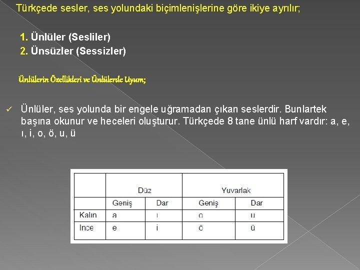 Türkçede sesler, ses yolundaki biçimlenişlerine göre ikiye ayrılır; 1. Ünlüler (Sesliler) 2. Ünsüzler (Sessizler)