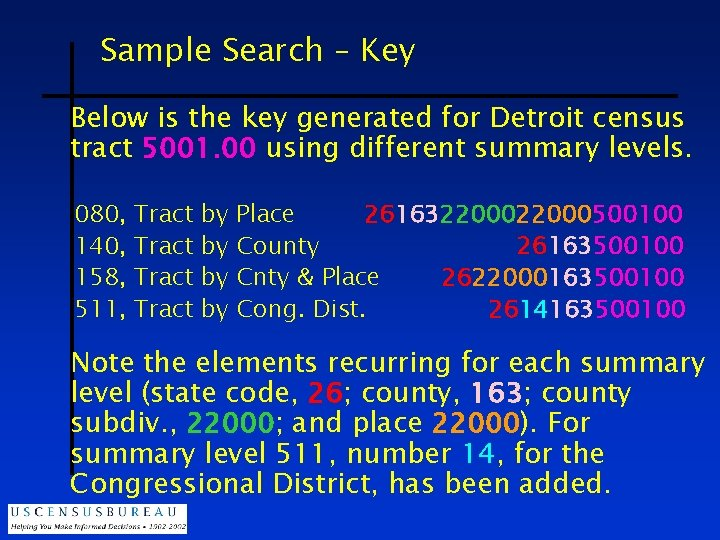 Sample Search – Key Below is the key generated for Detroit census tract 5001.