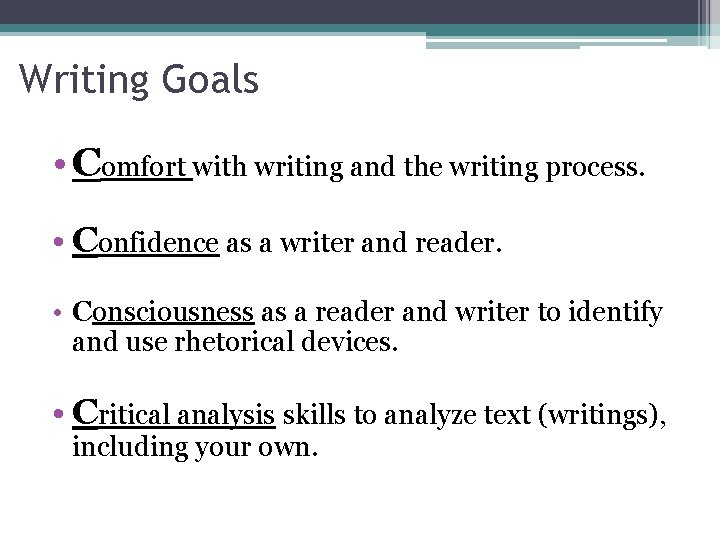 Writing Goals • Comfort with writing and the writing process. • Confidence as a