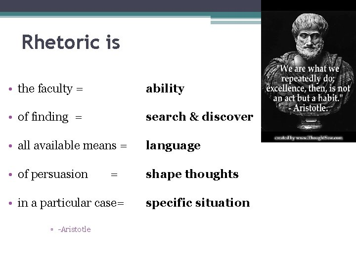 Rhetoric is • the faculty = ability • of finding = search & discover
