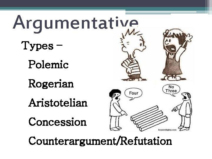 Argumentative Types – Polemic Rogerian Aristotelian Concession Counterargument/Refutation