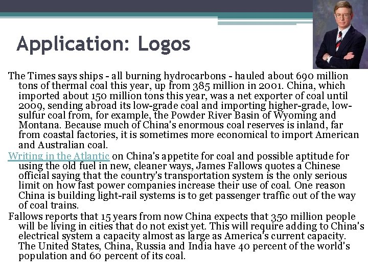 Application: Logos The Times says ships - all burning hydrocarbons - hauled about 690