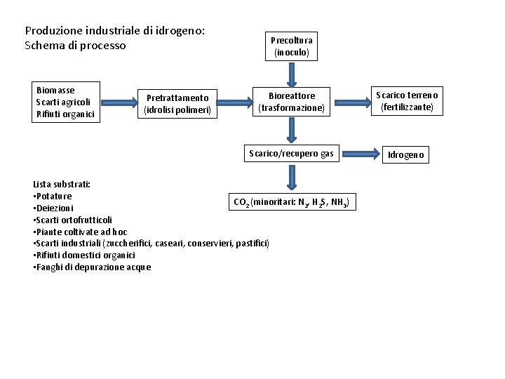 Produzione industriale di idrogeno: Schema di processo Biomasse Scarti agricoli Rifiuti organici Pretrattamento (idrolisi
