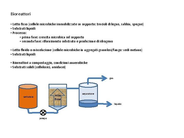 Bioreattori • Letto fisso (cellule microbiche immobilizzate su supporto: trucioli di legno, sabbia, spugne)