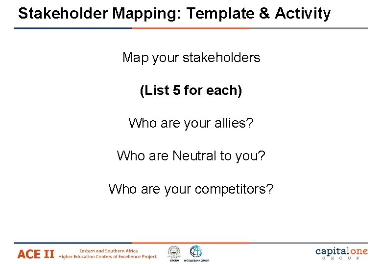 Stakeholder Mapping: Template & Activity Map your stakeholders (List 5 for each) Who are