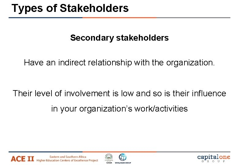 Types of Stakeholders Secondary stakeholders Have an indirect relationship with the organization. Their level