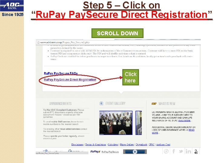 """Since 1925 Step 5 – Click on """"Ru. Pay. Secure Direct Registration"""" SCROLL DOWN"""