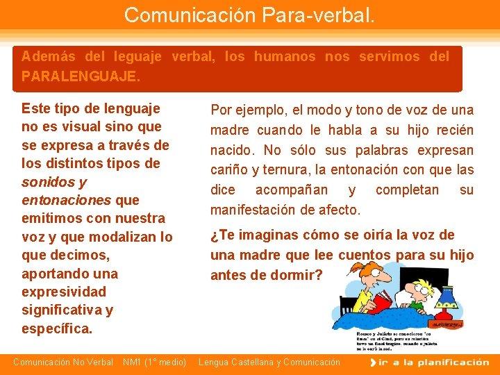Comunicación Para-verbal. Además del leguaje verbal, los humanos servimos del PARALENGUAJE. Este tipo de