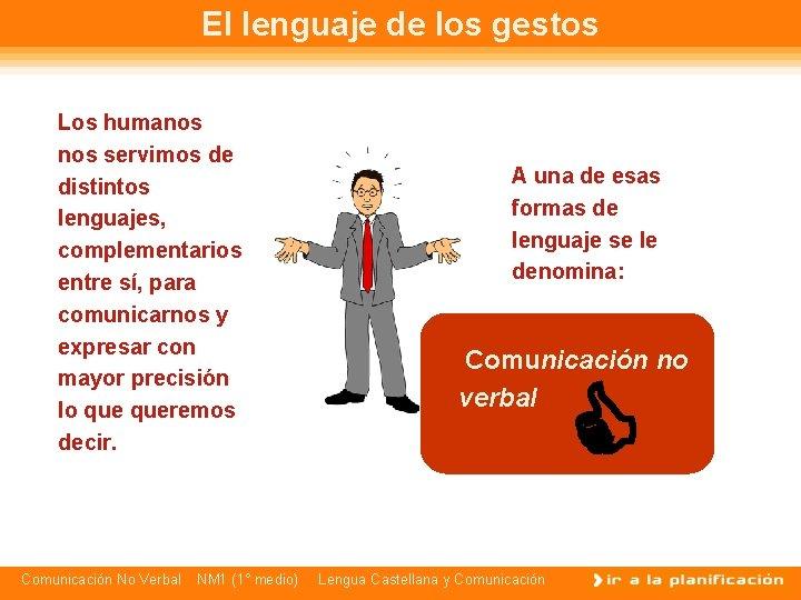 El lenguaje de los gestos Los humanos servimos de distintos lenguajes, complementarios entre sí,