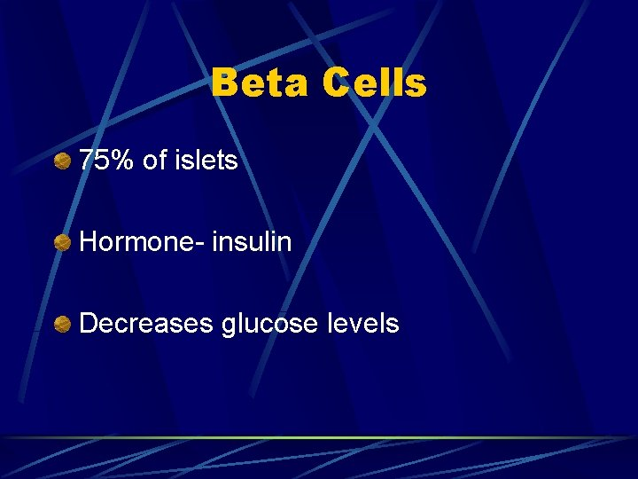 Beta Cells 75% of islets Hormone- insulin Decreases glucose levels