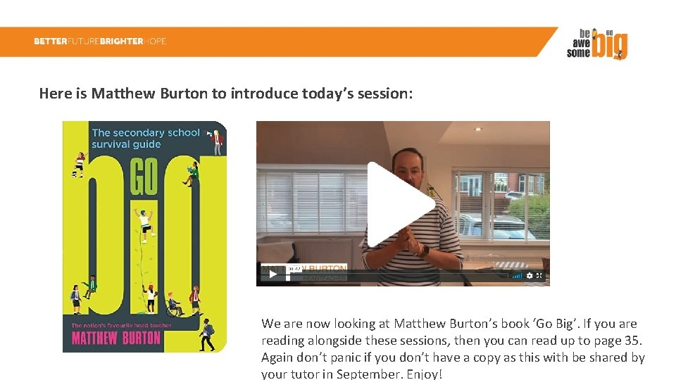 Here is Matthew Burton to introduce today's session: We are now looking at Matthew