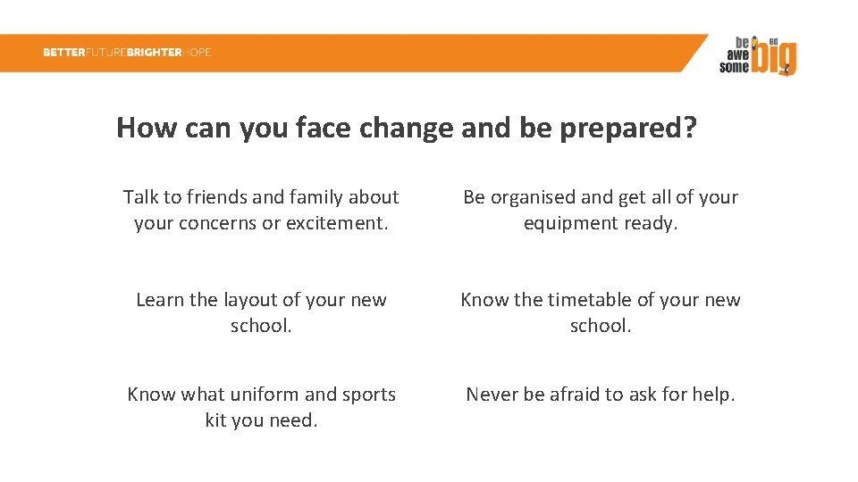 How can you face change and be prepared? Talk to friends and family about