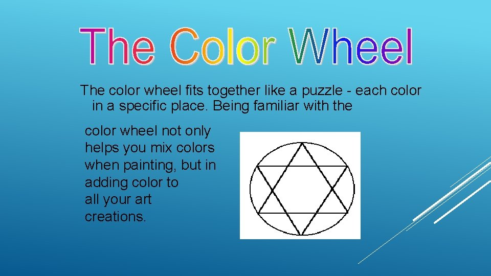 The color wheel fits together like a puzzle - each color in a specific