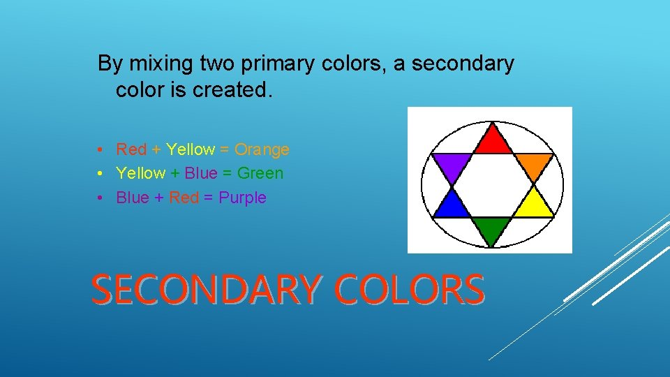 By mixing two primary colors, a secondary color is created. • Red + Yellow