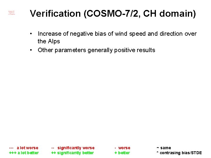 Verification (COSMO-7/2, CH domain) • Increase of negative bias of wind speed and direction