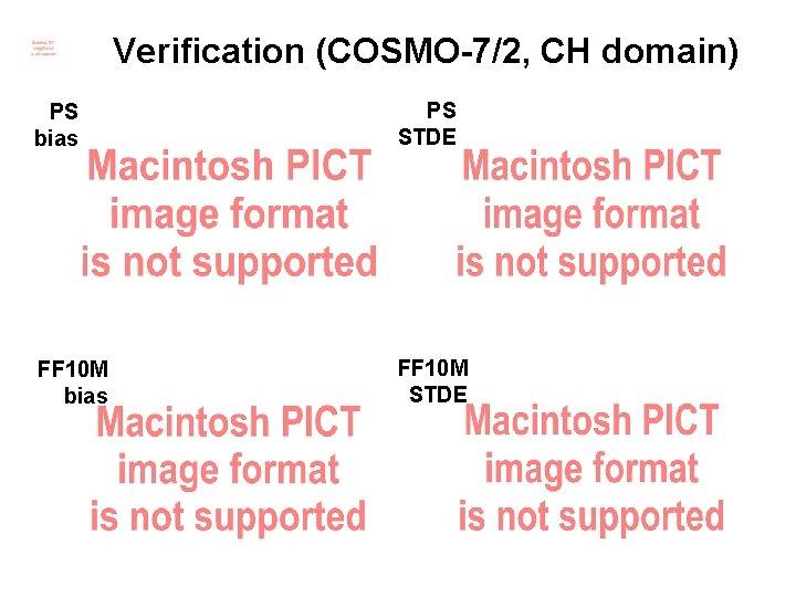 Verification (COSMO-7/2, CH domain) PS bias PS STDE FF 10 M bias FF 10