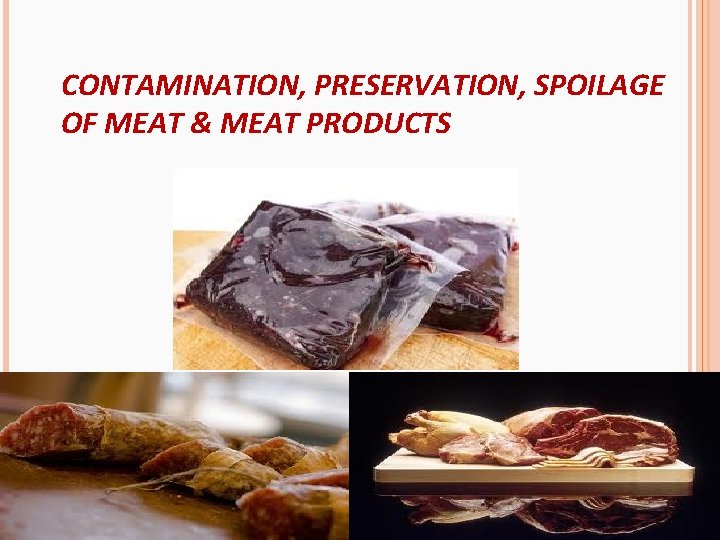 CONTAMINATION, PRESERVATION, SPOILAGE OF MEAT & MEAT PRODUCTS