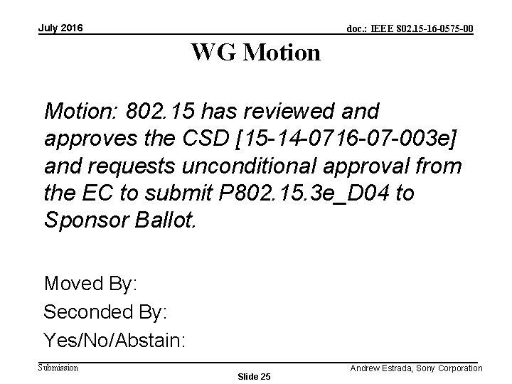 July 2016 doc. : IEEE 802. 15 -16 -0575 -00 WG Motion: 802. 15