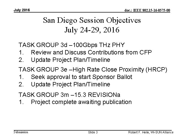 July 2016 doc. : IEEE 802. 15 -16 -0575 -00 San Diego Session Objectives