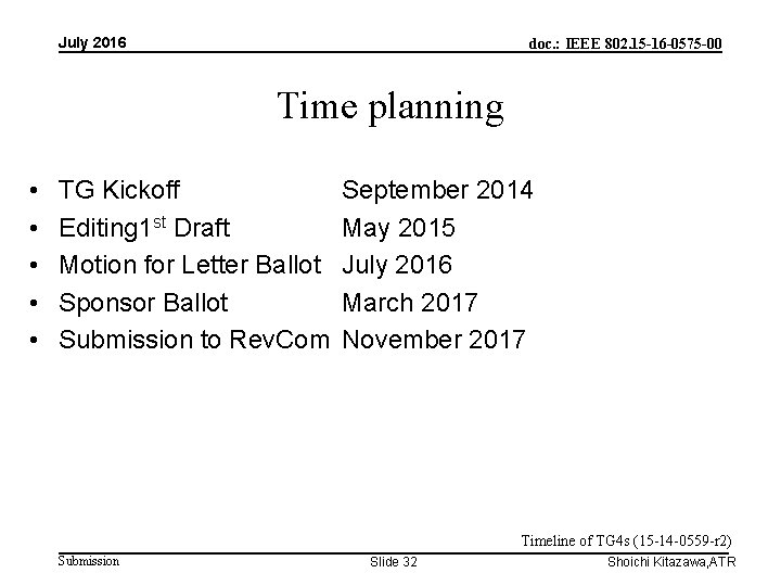 July 2016 doc. : IEEE 802. 15 -16 -0575 -00 Time planning • •