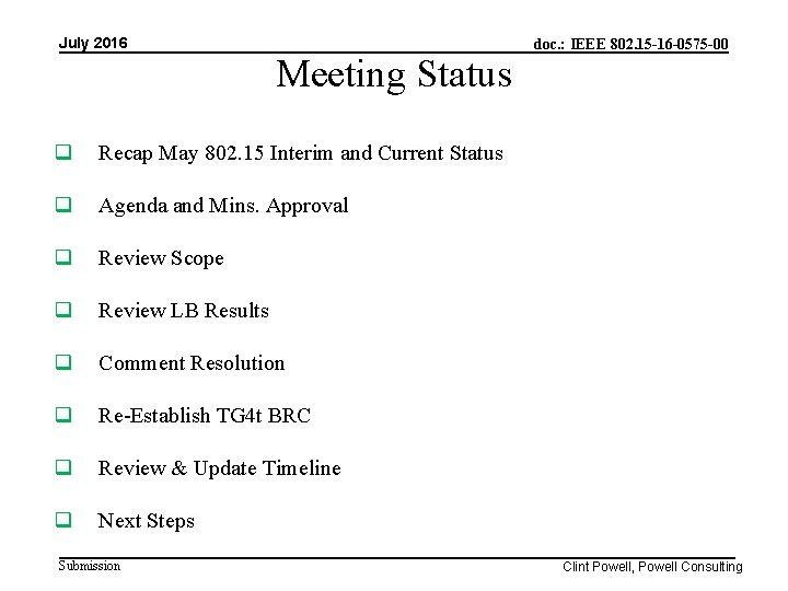 July 2016 Meeting Status Recap May 802. 15 Interim and Current Status Agenda and