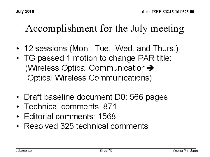 July 2016 doc. : IEEE 802. 15 -16 -0575 -00 Accomplishment for the July