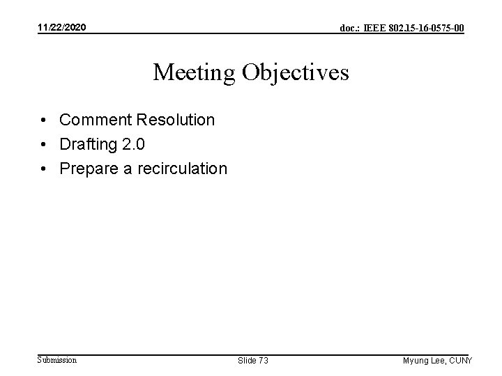 11/22/2020 doc. : IEEE 802. 15 -16 -0575 -00 Meeting Objectives • Comment Resolution
