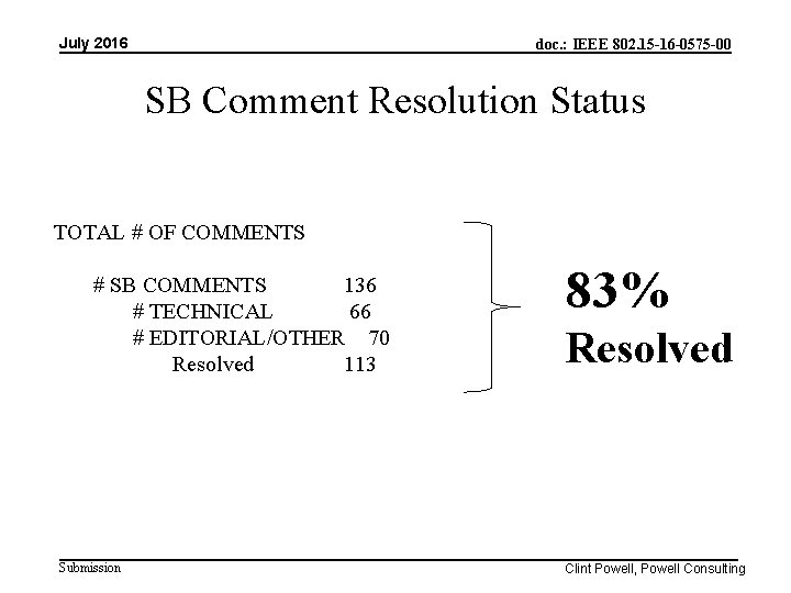 July 2016 doc. : IEEE 802. 15 -16 -0575 -00 SB Comment Resolution Status