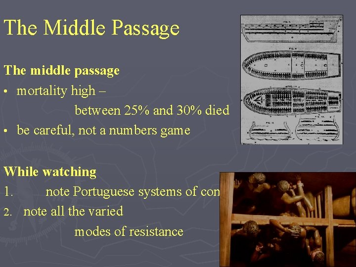 The Middle Passage The middle passage • mortality high – between 25% and 30%